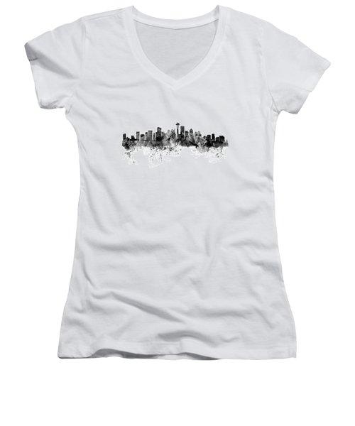 Seattle Washington Skyline Women's V-Neck T-Shirt (Junior Cut) by Michael Tompsett