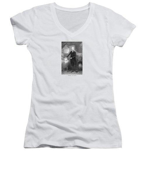 Thomas Jefferson Women's V-Neck T-Shirt (Junior Cut) by War Is Hell Store