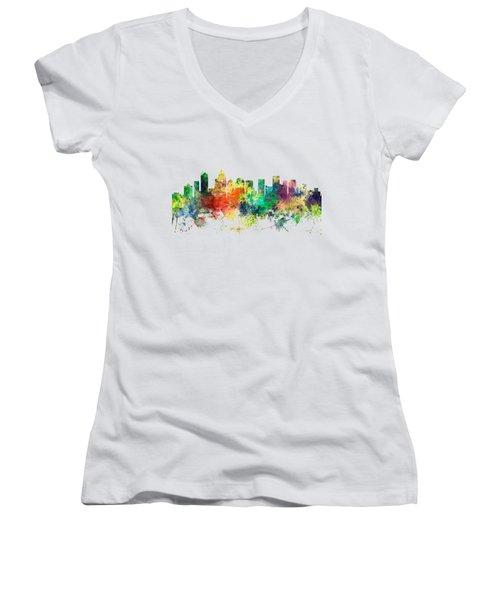 Charlotte Nc Skyline Women's V-Neck T-Shirt (Junior Cut) by Marlene Watson