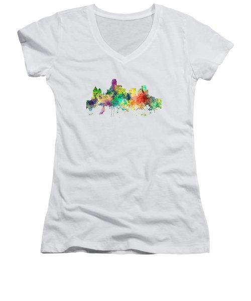 Dallas Texas Skyline Women's V-Neck T-Shirt (Junior Cut) by Marlene Watson