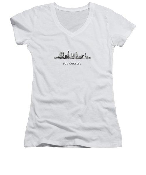 Los Angeles California Skyline Women's V-Neck T-Shirt (Junior Cut) by Marlene Watson