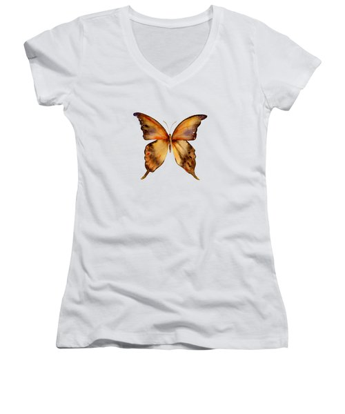 7 Yellow Gorgon Butterfly Women's V-Neck T-Shirt (Junior Cut) by Amy Kirkpatrick