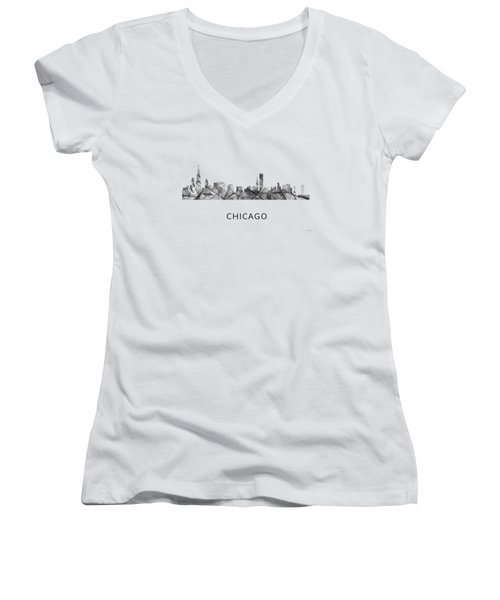 Chicago Illinois Skyline Women's V-Neck T-Shirt (Junior Cut) by Marlene Watson