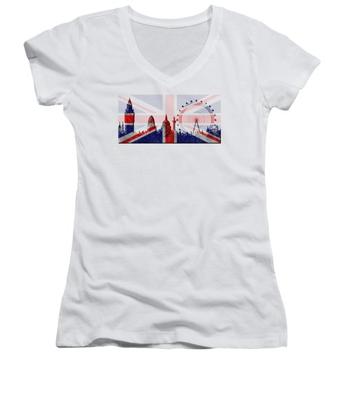 London Skyline Women's V-Neck T-Shirt (Junior Cut) by Michal Boubin