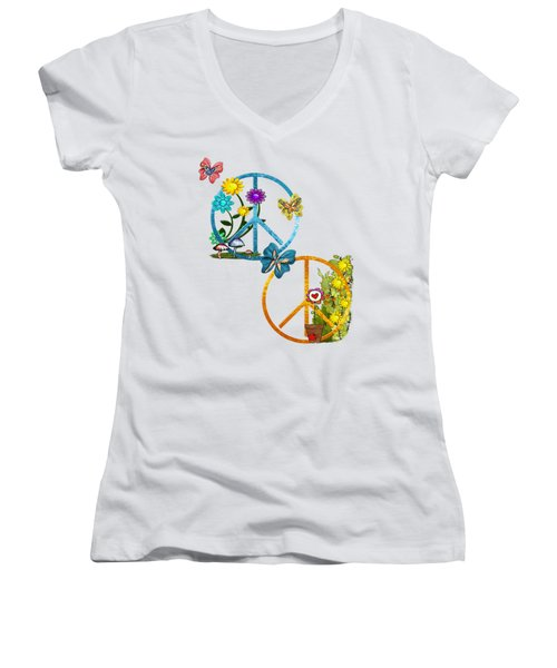 A Very Hippy Day Whimsical Fantasy Women's V-Neck T-Shirt (Junior Cut) by Sharon and Renee Lozen