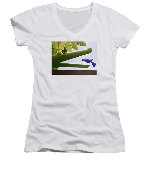 Alligator Nursery Art Women's V-Neck T-Shirt (Junior Cut) by Christy Beckwith