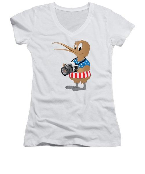 American Kiwi Photo Women's V-Neck T-Shirt (Junior Cut) by Mark Dodd