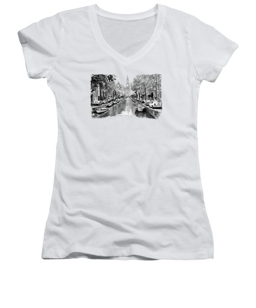 Amsterdam Canal 2 Black And White Women's V-Neck T-Shirt (Junior Cut) by Marian Voicu