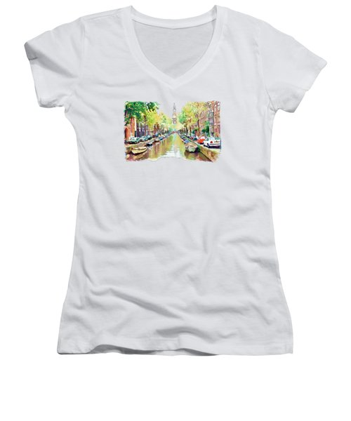 Amsterdam Canal 2 Women's V-Neck T-Shirt (Junior Cut) by Marian Voicu