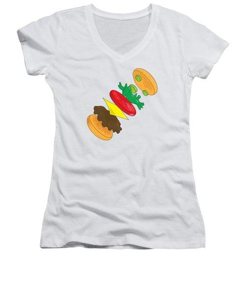 Anatomy Of Cheeseburger Women's V-Neck T-Shirt (Junior Cut) by Ben Shurts