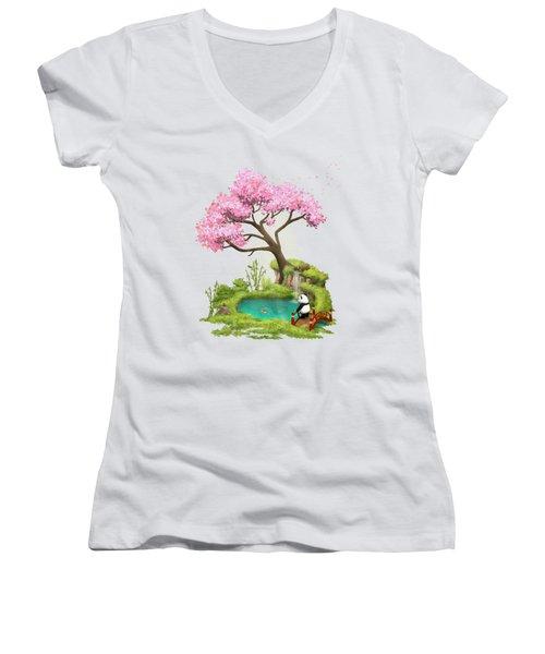 Anjing II - The Zen Garden Women's V-Neck T-Shirt (Junior Cut) by Carlos M R Alves