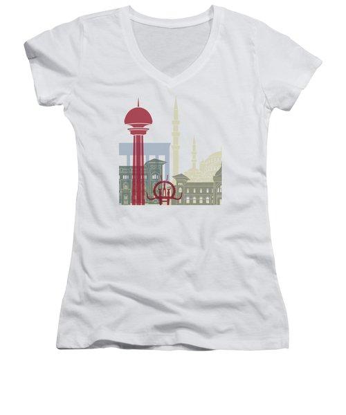 Ankara Skyline Poster Women's V-Neck T-Shirt (Junior Cut) by Pablo Romero