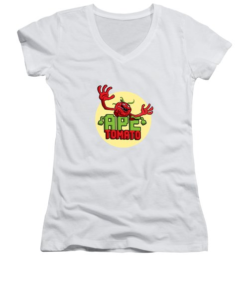 Ape Tomato Women's V-Neck T-Shirt (Junior Cut) by Nicolas Palmer