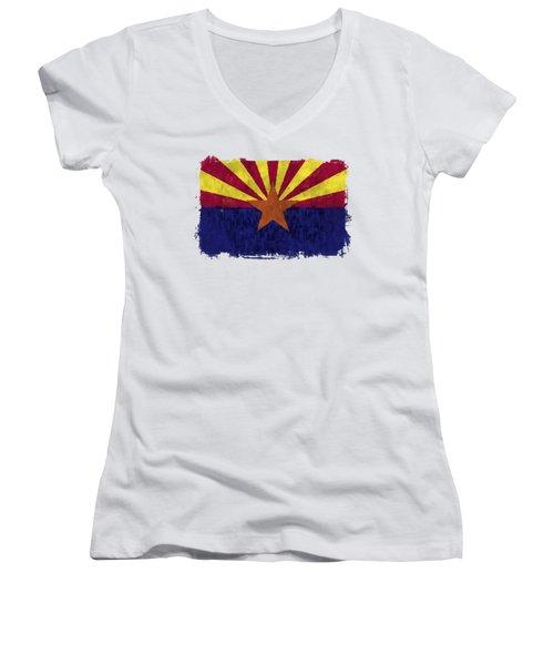 Arizona Flag Women's V-Neck T-Shirt (Junior Cut) by World Art Prints And Designs