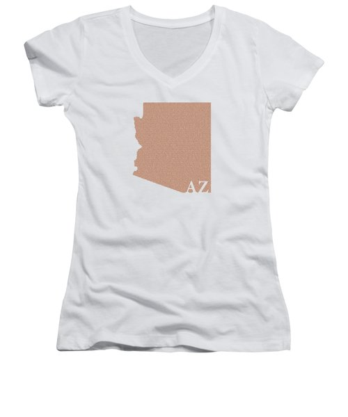 Arizona State Map With Text Of Constitution Women's V-Neck T-Shirt (Junior Cut) by Design Turnpike