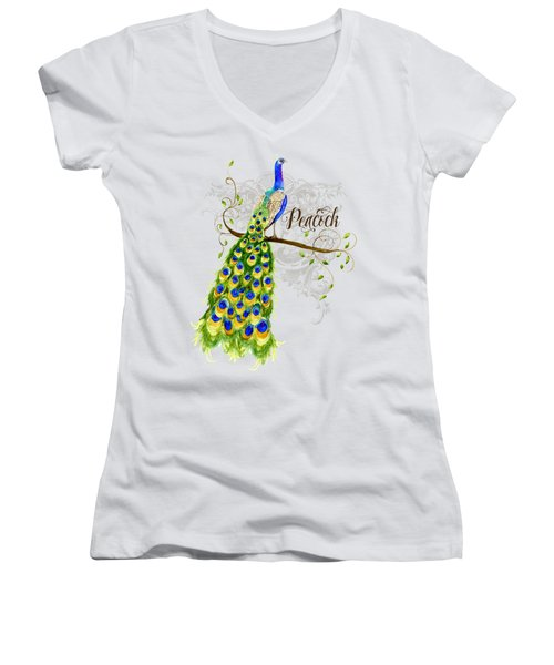 Art Nouveau Peacock W Swirl Tree Branch And Scrolls Women's V-Neck T-Shirt (Junior Cut) by Audrey Jeanne Roberts