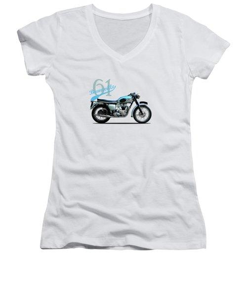 Triumph Bonneville Women's V-Neck T-Shirt (Junior Cut) by Mark Rogan