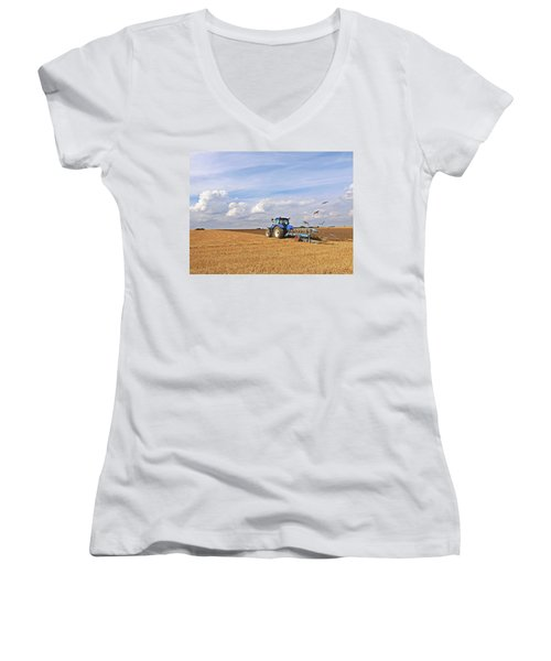 Ploughing After The Harvest Women's V-Neck T-Shirt (Junior Cut) by Gill Billington