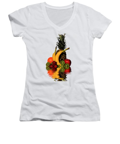 Fruity Reflections - Light Women's V-Neck T-Shirt (Junior Cut) by Shane Bechler