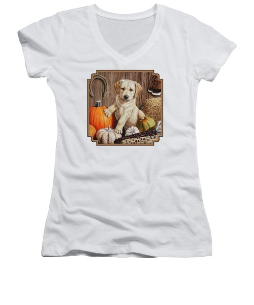Pumpkin Puppy Women's V-Neck T-Shirt (Junior Cut) by Crista Forest