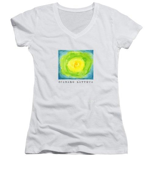 Abstract Iceberg Lettuce Women's V-Neck T-Shirt (Junior Cut) by Kathleen Wong
