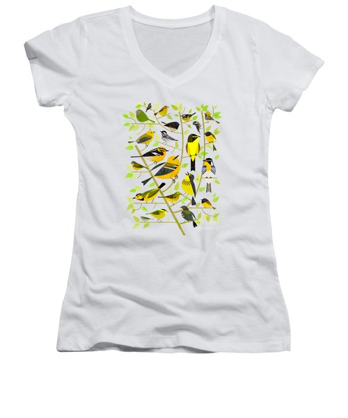 Warblers 1 Women's V-Neck T-Shirt (Junior Cut) by Scott Partridge