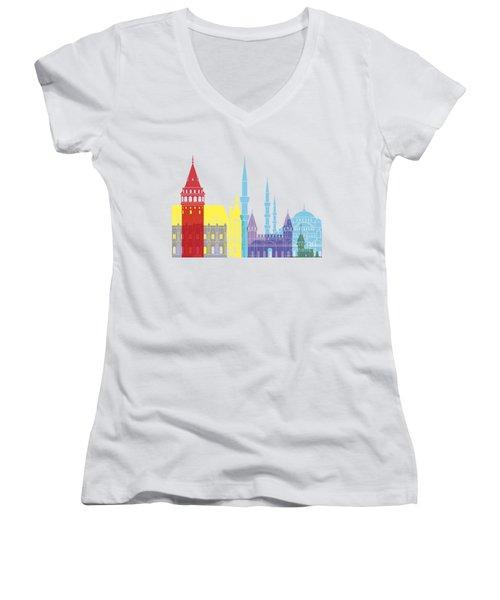 Istanbul Skyline Pop Women's V-Neck T-Shirt (Junior Cut) by Pablo Romero