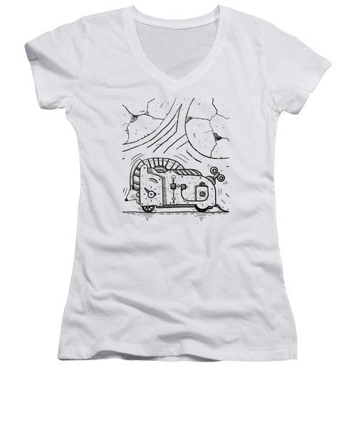 Moto Mouse Women's V-Neck T-Shirt (Junior Cut) by Erki Schotter