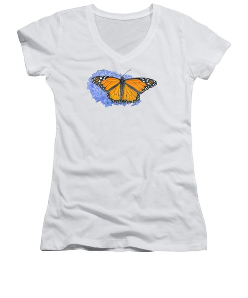 Monarch Butterfly And Hydrangea- Transparent Background Women's V-Neck T-Shirt (Junior Cut) by Sarah Batalka