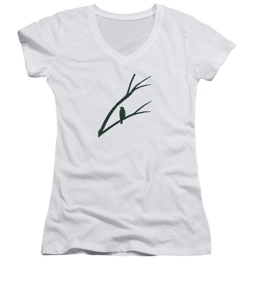 Green Bird Silhouette Plaid Bird Art Women's V-Neck T-Shirt (Junior Cut) by Christina Rollo