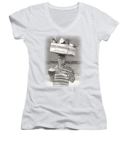 Island Street Vendor Women's V-Neck T-Shirt (Junior Cut) by Tom Podsednik