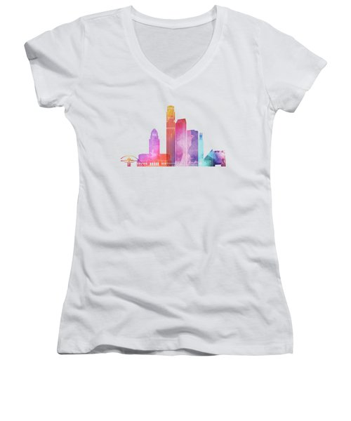 Los Angeles Landmarks Watercolor Poster Women's V-Neck T-Shirt (Junior Cut) by Pablo Romero