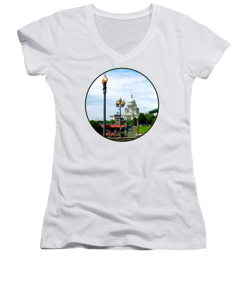 Capitol Building Seen From Waterplace Park Women's V-Neck T-Shirt (Junior Cut) by Susan Savad