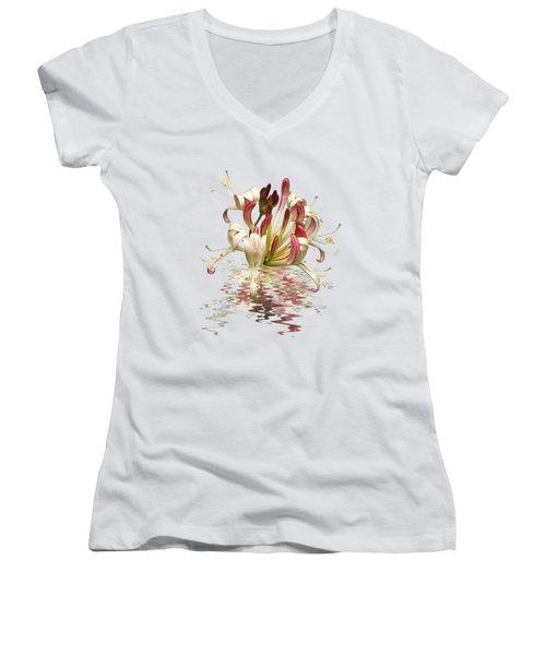 Honeysuckle Reflections Women's V-Neck T-Shirt (Junior Cut) by Gill Billington