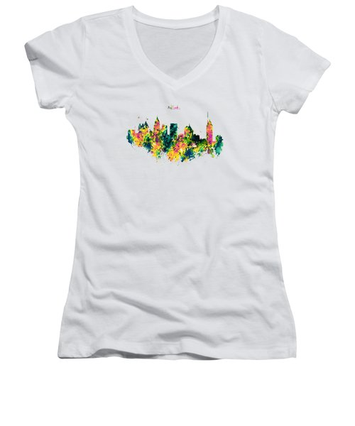 Atlanta Watercolor Skyline  Women's V-Neck T-Shirt (Junior Cut) by Marian Voicu