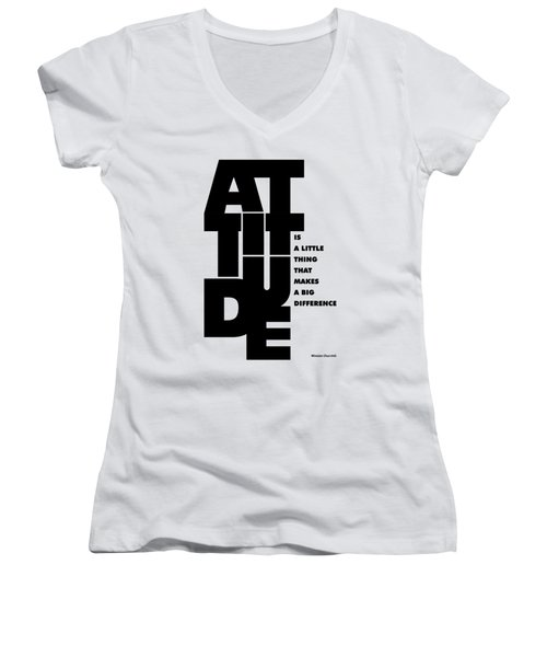 Attitude - Winston Churchill Inspirational Typographic Quote Art Poster Women's V-Neck T-Shirt (Junior Cut) by Lab No 4 - The Quotography Department