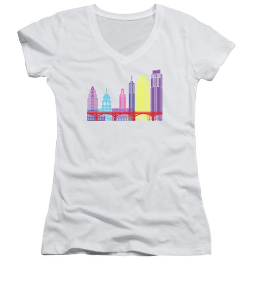 Austin Skyline Pop Women's V-Neck T-Shirt (Junior Cut) by Pablo Romero