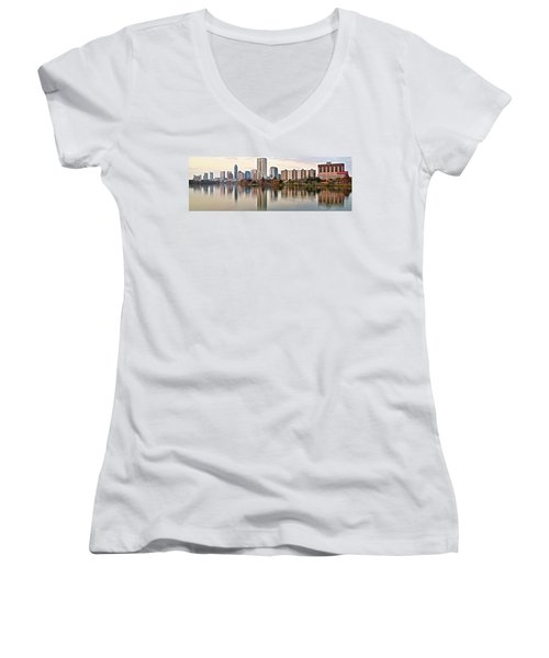 Austin Wide Shot Women's V-Neck T-Shirt (Junior Cut) by Frozen in Time Fine Art Photography