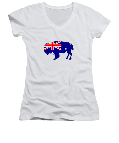 Australian Flag - Bison Women's V-Neck T-Shirt (Junior Cut) by Mordax Furittus