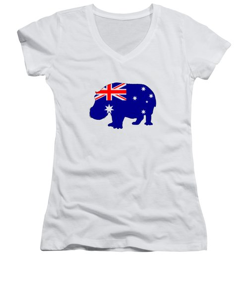 Australian Flag - Hippopotamus Women's V-Neck T-Shirt (Junior Cut) by Mordax Furittus