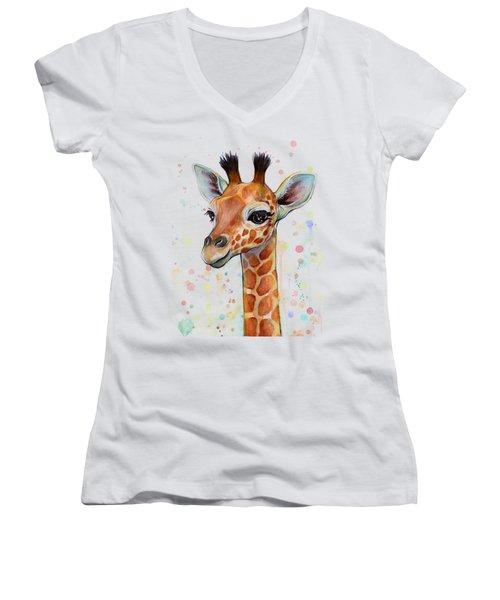 Baby Giraffe Watercolor  Women's V-Neck T-Shirt (Junior Cut) by Olga Shvartsur