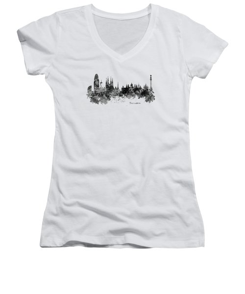Barcelona Black And White Watercolor Skyline Women's V-Neck T-Shirt (Junior Cut) by Marian Voicu