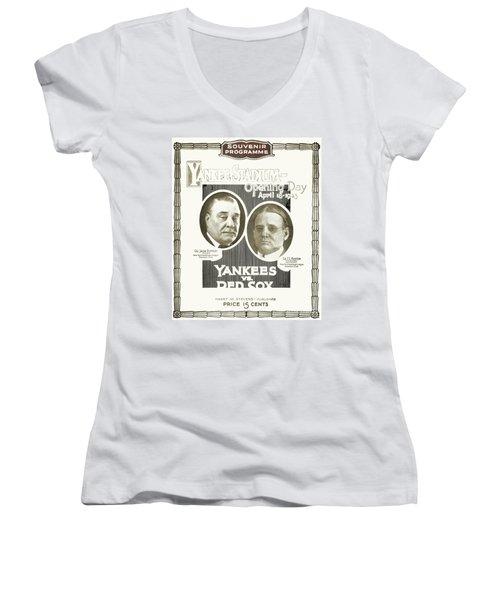 Baseball Program, 1923 Women's V-Neck T-Shirt (Junior Cut) by Granger