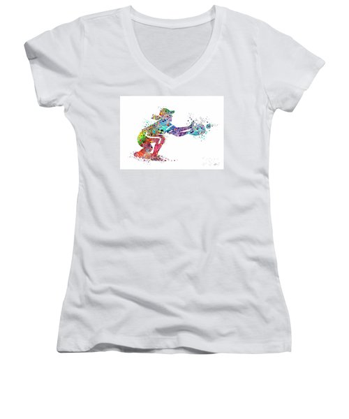 Baseball Softball Catcher 2 Sports Art Print Women's V-Neck T-Shirt (Junior Cut) by Svetla Tancheva