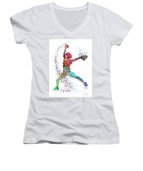 Baseball Softball Pitcher Watercolor Print Women's V-Neck T-Shirt (Junior Cut) by Svetla Tancheva