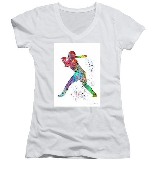 Baseball Softball Player Women's V-Neck T-Shirt (Junior Cut) by Svetla Tancheva