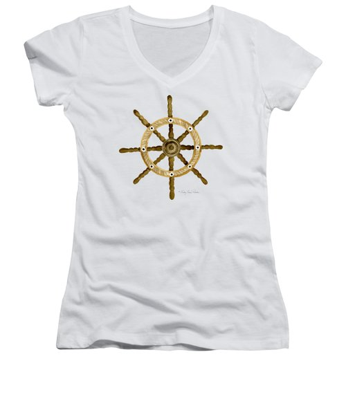 Beach House Nautical Boat Ship Anchor Vintage Women's V-Neck T-Shirt (Junior Cut) by Audrey Jeanne Roberts