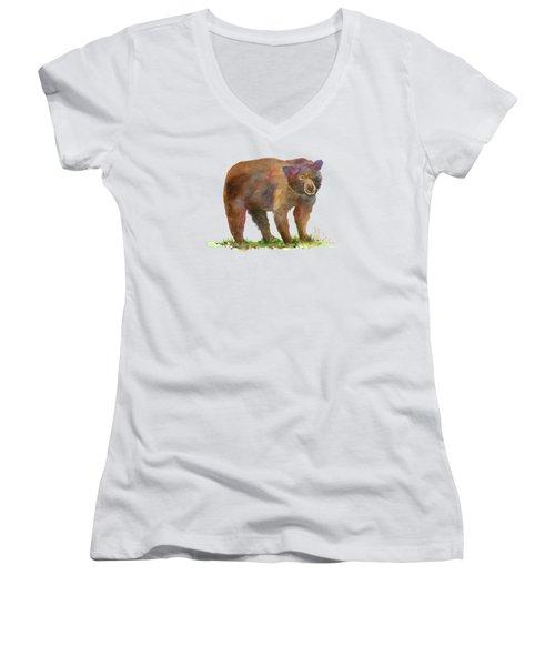 Bear Women's V-Neck T-Shirt (Junior Cut) by Amy Kirkpatrick
