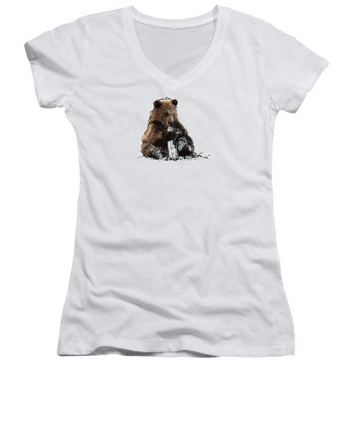 Bear Loves Ny Women's V-Neck T-Shirt (Junior Cut) by Devlin