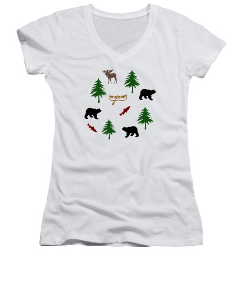 Bear Moose Pattern Women's V-Neck T-Shirt (Junior Cut) by Christina Rollo